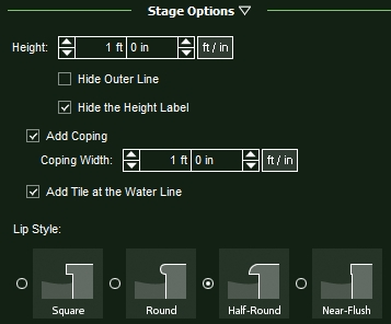 VizTerra Water Features Stage Options