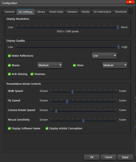 Configuration 3D Settings