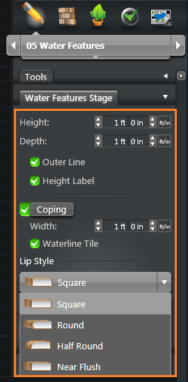 Water Features Stage Options