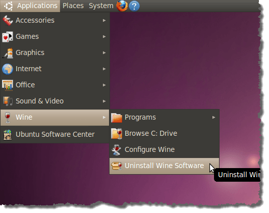 Running the Wine Uninstaller