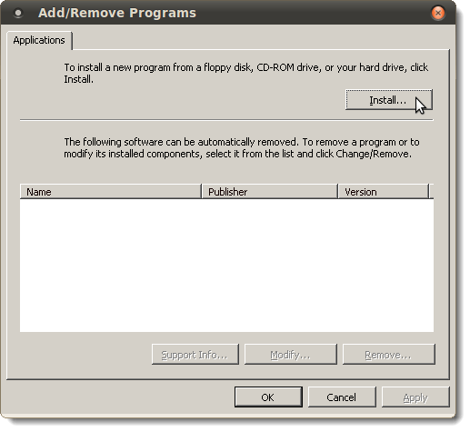 Add/Remove Programs dialog box in Wine