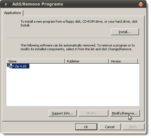 Uninstalling 7-Zip on the Add/Remove Programs dialog box