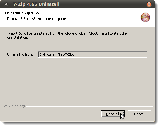 7-Zip Uninstall dialog box