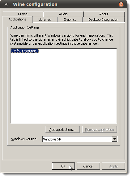 Wine configuration dialog box
