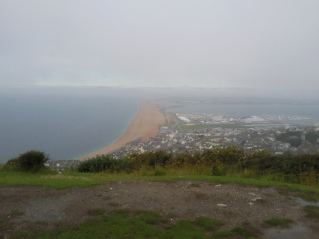 A view of Chiswell and Chesil Beach. largely obscured by the rain