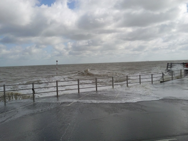 Waves flooding the promenade at Broadstairs
