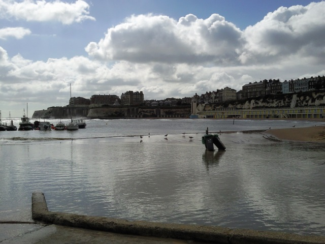 Broadstairs harbour area, flooded