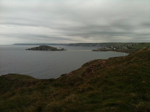 Bigbury-on-Sea and Burgh Island, as seen from near Bantham.