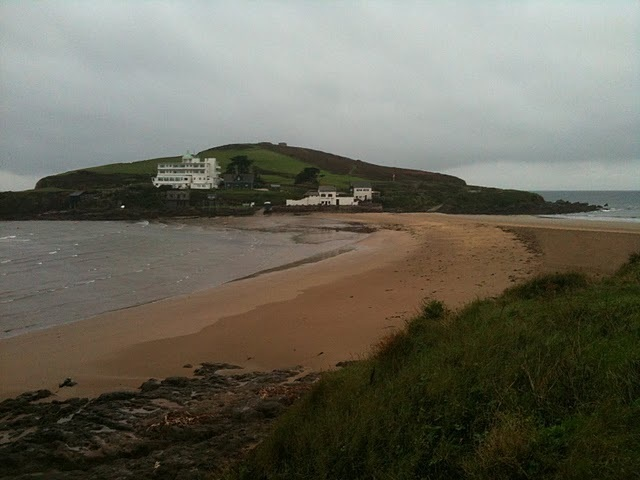Burgh Island at low tide with the causeway exposed