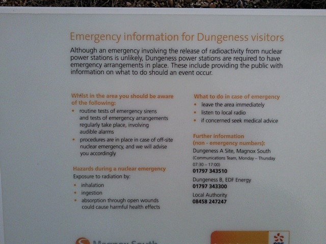 Emergency Information (sign) for Dungeness Visitors