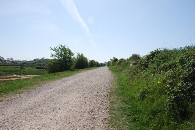 Hayling Billy Line trackbed path - running through open fields
