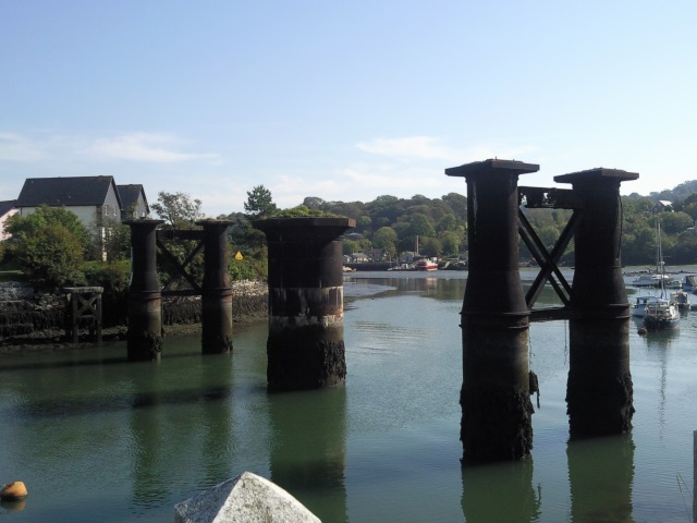 The supporting pillars of a vanished rail swing bridge