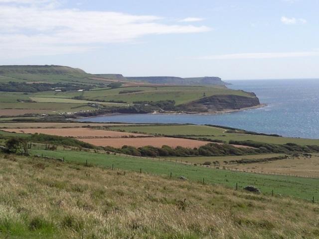 Kimmeridge Bay, as seen from the lower slopes of Tyneham Cap.