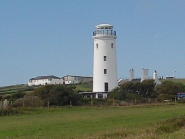 A short, white lighthouse