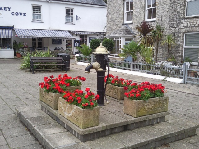 In a village square, an old water pump surrounded by flower boxes