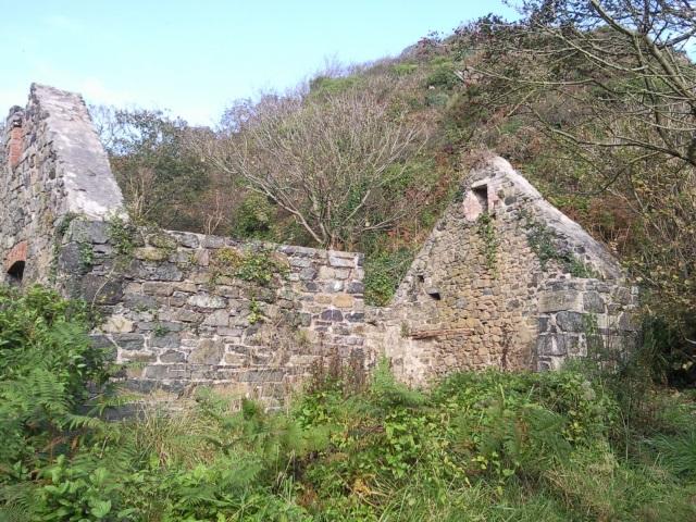 Ruined serpentine mine at Poltesco