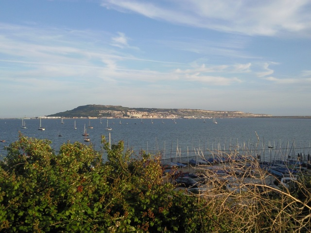 Isle of Portland as seen from the Rodwell Trail in Weymouth
