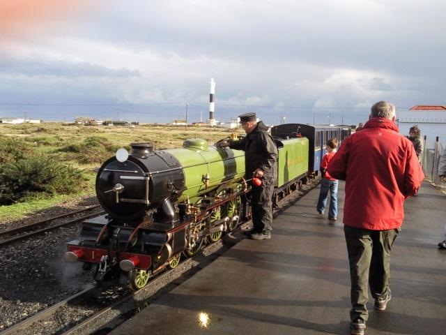 Romney, Hythe and Dymchurch Railway train at station