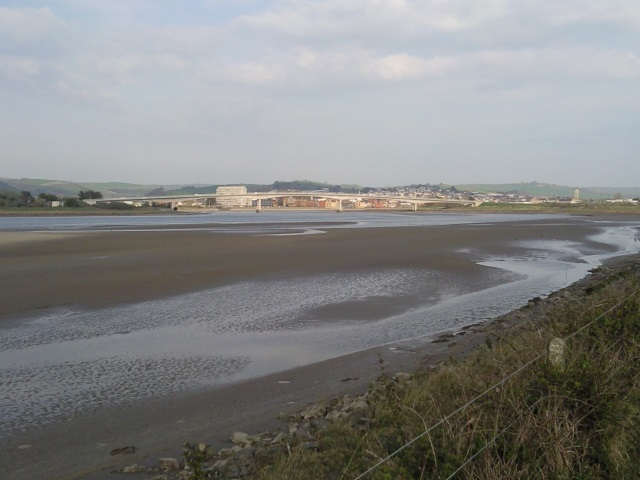Approaching Barnstaple. The Western Bypass Road Bridge is clearly visible