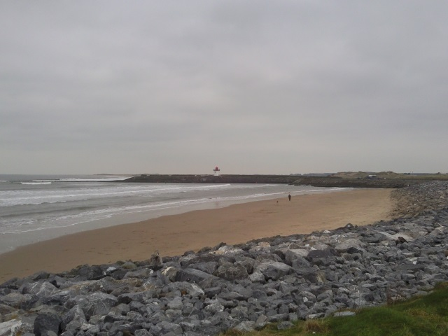 Burry Port Beach, harbour wall and lighthouse