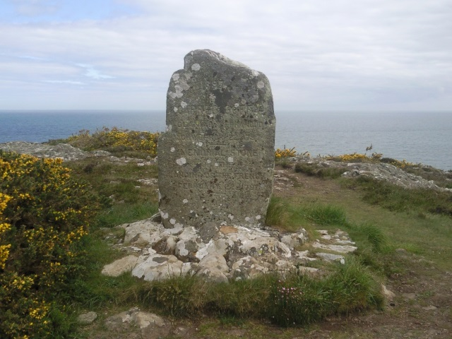 Memorial stone on Carregwastad Point