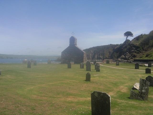 St Brynach's Church in blurry soft focus