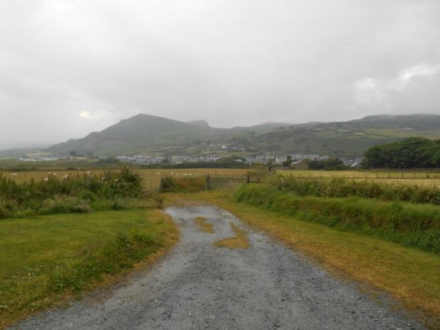 Mynydd Nefyn with Yr Eifl obscured by rain and cloud