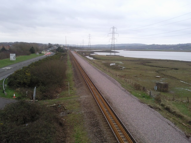 Railway track being redoubled near Loughor