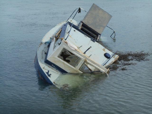 Abandoned, sunken boat