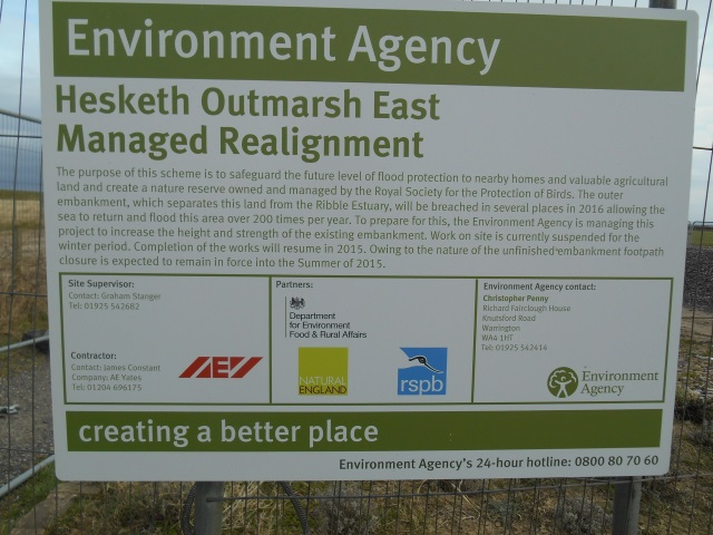 Sign: Hesketh Outmarsh East Managed Realignment