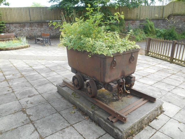 ore wagon used as a planter