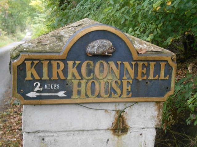 Sign for Kirkconnel House featuring a hedgehog