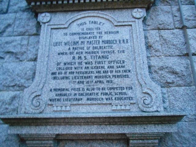 Memorial tablet to William McMaster Murdoch
