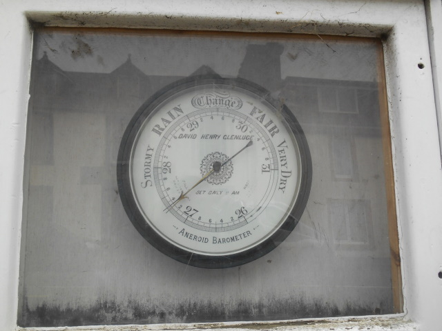 Barometer mounted in the wall of Glenluce Public Hall