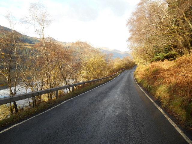 Autumnal trees beside the A814 allowing glimpses of the loch