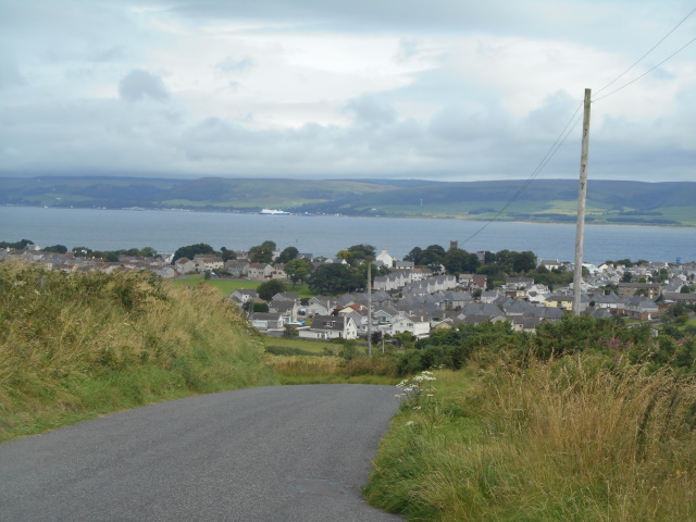 Approaching Stranraer, with Loch Ryan behind it (to the north)