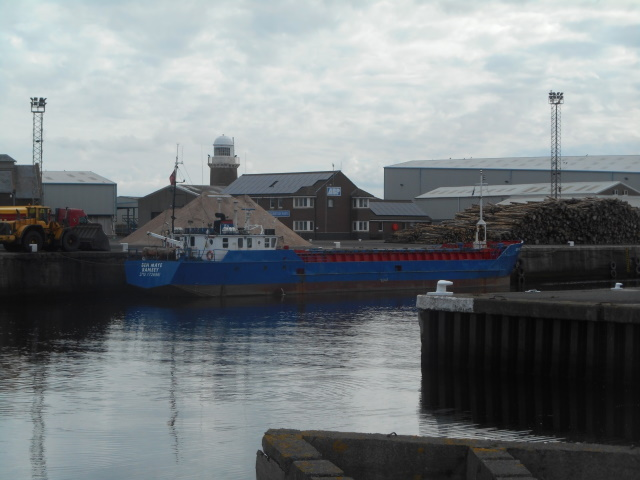 A cargo ship at the quayside