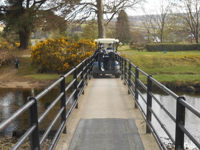 Golf cart on bridge over Glenrosa Water