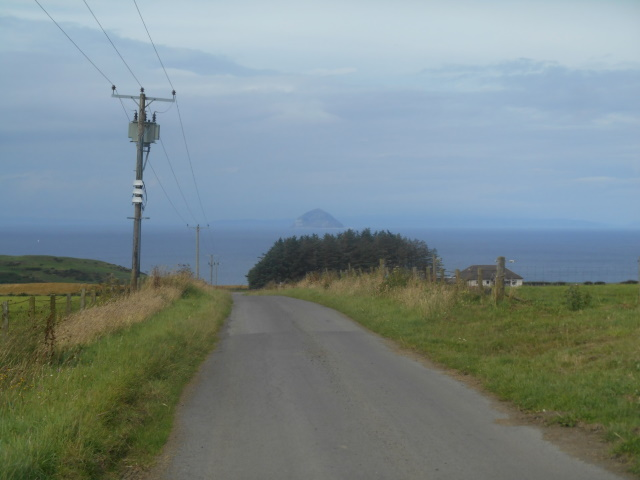 The road to Ballantrae. Ailsa Craig is in the background.
