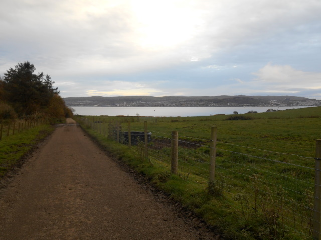 Road down to Meikleross Bay. Greenock is visible on the far side.