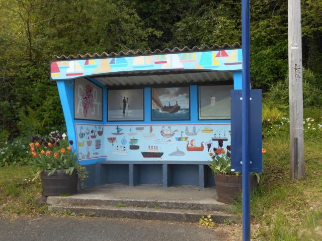Decorated bus shelter