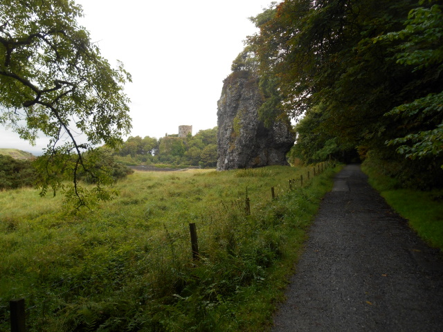 Dunollie castle driveway. Clach a' Choin is ahead and the castle in the background