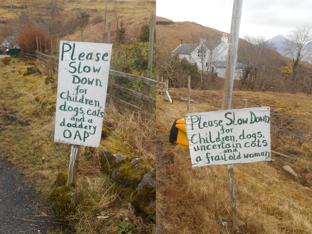 Sign 1: Please slow down for children, dogs, cats anda  doddery OAP.  Sign 2: Please slow down for children, dogs, uncertain cats and a frail old woman.