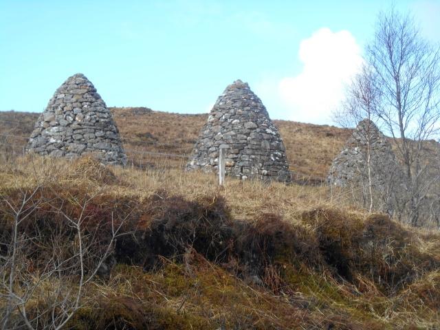 Three memorial cairns