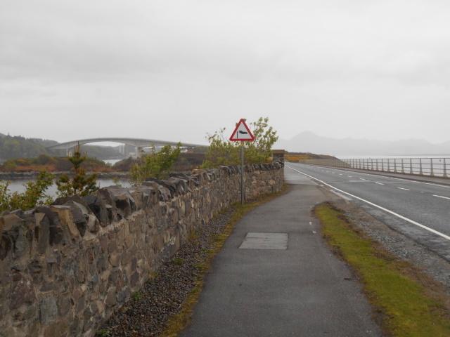 Approaching Skye Bridge. A sign warns of crosswinds.