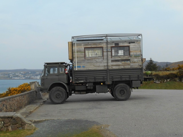 Army truck converted into mobile home