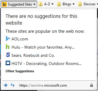 Internet Explorer Suggested Sites