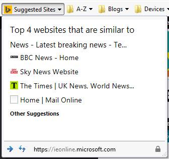 Internet Explorer Suggested Sites