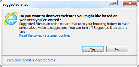 Internet Explorer Suggested Sites - Not My Favourites - Helpful Colin