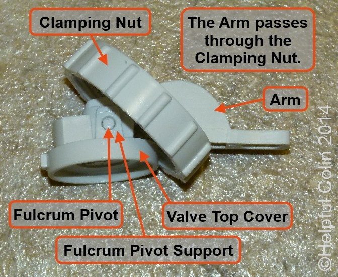 The Top Cover Assembly of Toilet Silent Fill Valve with its parts labelled and the Arm threaded through the Clamping Nut.
